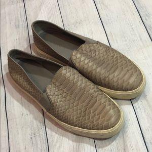 Vince Blair Gray Croc Embossed Slip On Sneakers